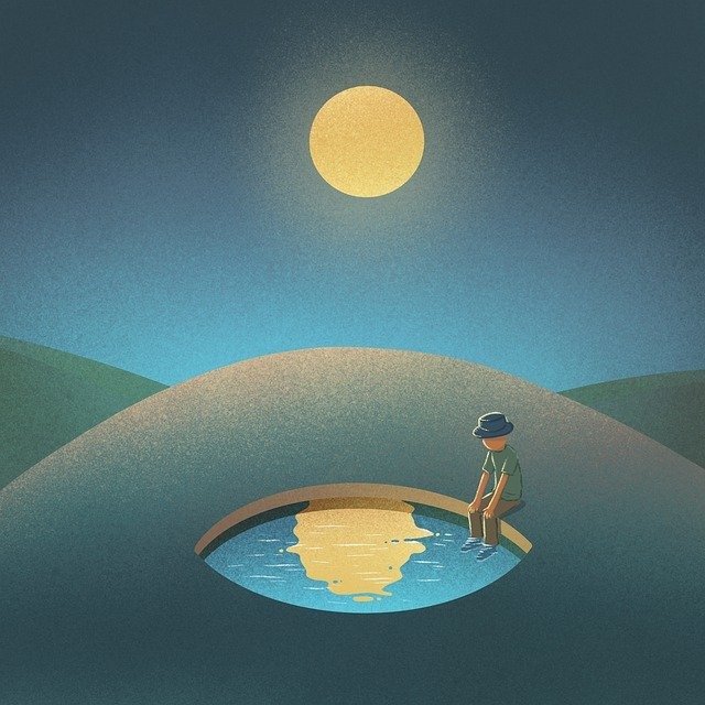 Desert, Lake, Man, Waiting, Reflection, Moon, Moonlight