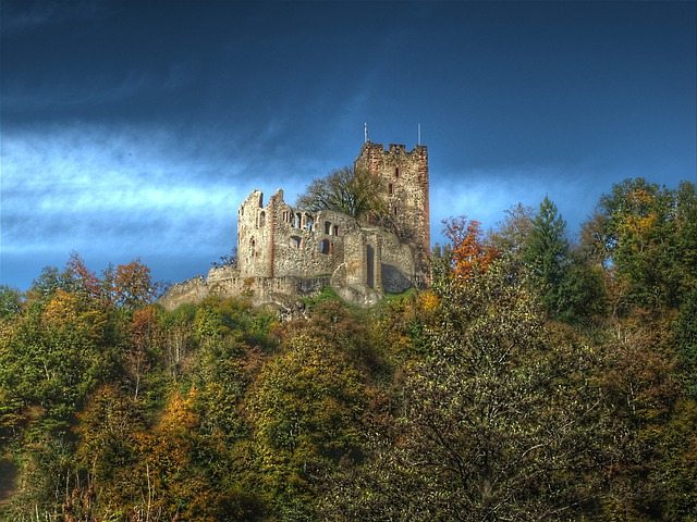 Castellated Castle, Waldkirch, Autumn, Castle