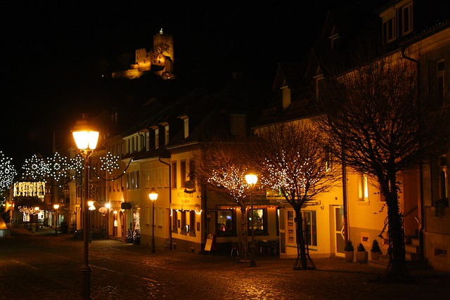 Waldkirch Of City At Night, With Christmas Lights, City
