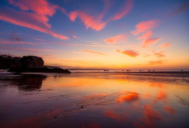 Sunrise, Tenby, Seascape, Wales, Coast, Reflection