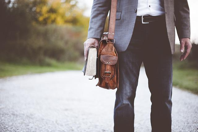 Bag, Book, Fashion, Man, Pants, Satchel, Walk, Teacher