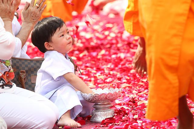 Buddhists, Rose Petals, Child, Walk, Monks, Tradition