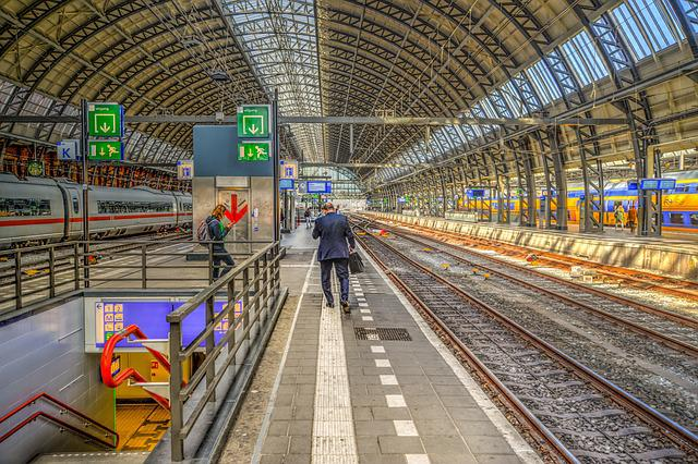 Amsterdam, Central, Train, Station, Man, Walking