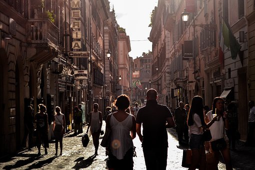 Man, Woman, People, Tourists, Walking, Walk, Alley