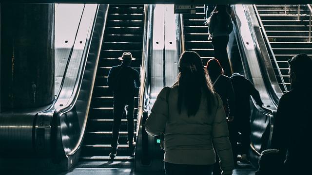 Escalator, People, Walking