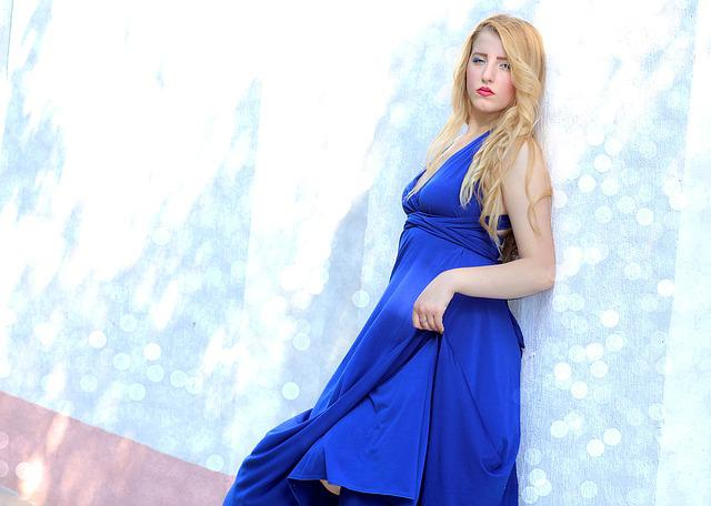 Girl, Wall, Leaning, Blonde, Blue Eyes, Dress, Blue