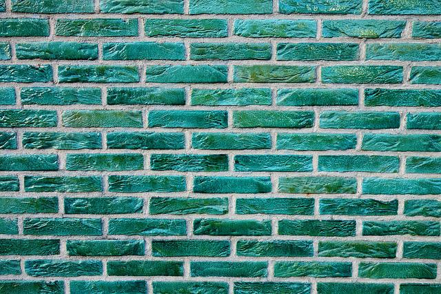 Brick Wall, Wall, Green Bricks, Glazed Bricks, Masonry