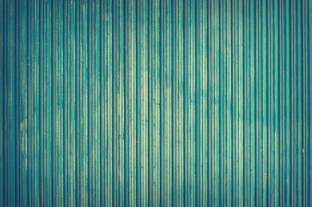 Wall, Blue, Color, Corrugated, Geometric, Iron, Lines