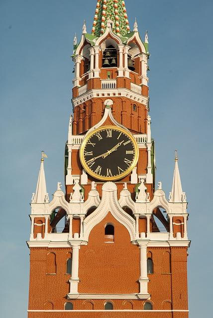 Moscow, Kremlin, Tower Of The Savior, Clock, Wall