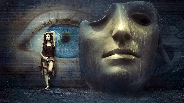 Fantasy, Surreal, Mask, Wall, Eye, Mysticism, Girl