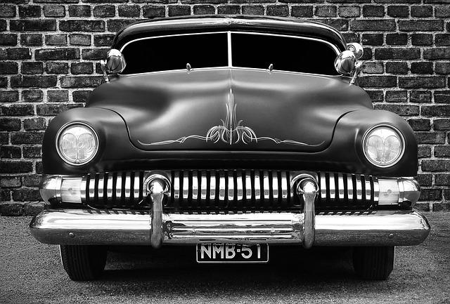 Car, Old, Classic, American, Wall, Brick Wall