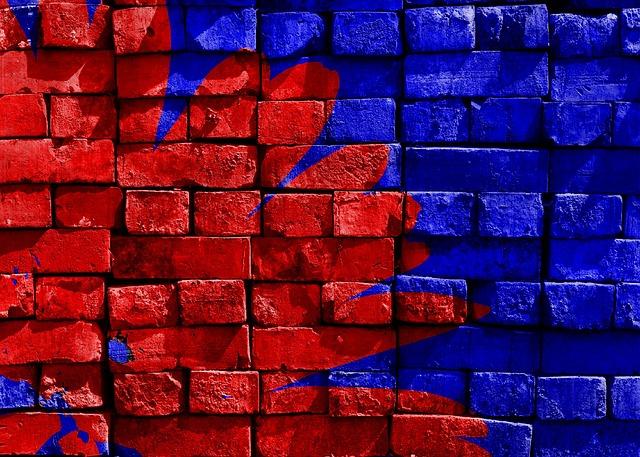 Blue, Red, Painted, Brick, Wall, Artwork, Art