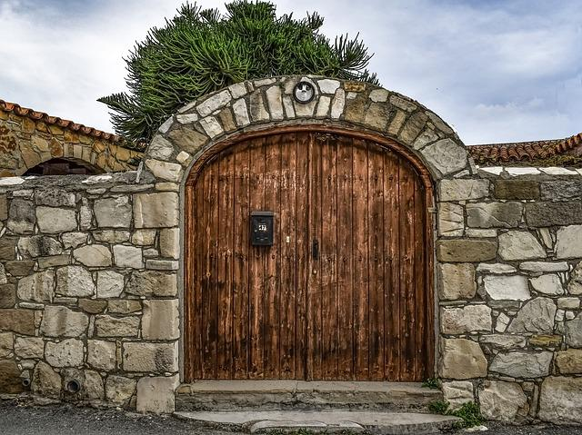 Gate, Door, Wooden, Wall, Old, Stone, Architecture