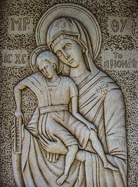 Engraving, Virgin Mary, Axion Esti, Wall, Church, Stone