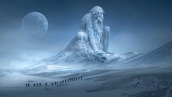 Fantasy, Landscape, Mountains, Human, Wanderer