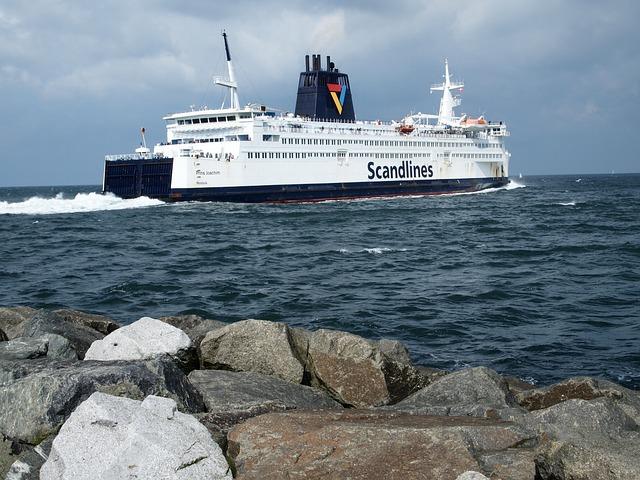 Ferry, Stones, Mole, Warnemünde, Ship, Water, Sea