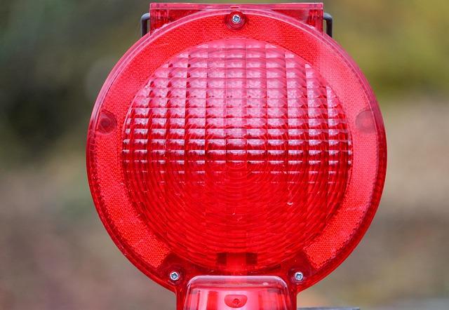 Warning Light, Warning Lamp, Road Sign, Site, Red