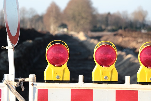 Site, Warning Light, Road Works, Barrier, Road