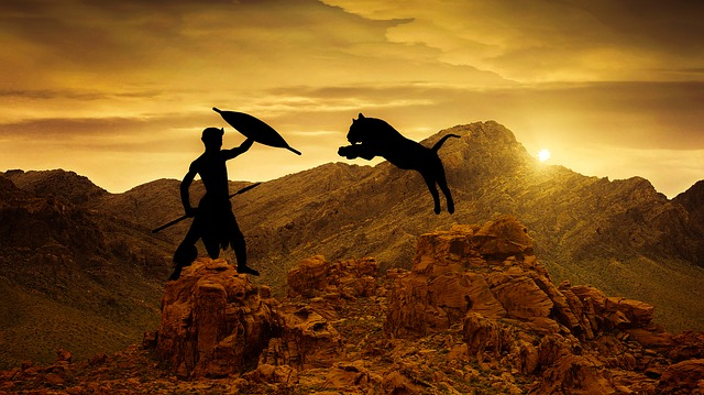 Design, Warrior, Tiger, Jumping Sunset, Nature, Dawn