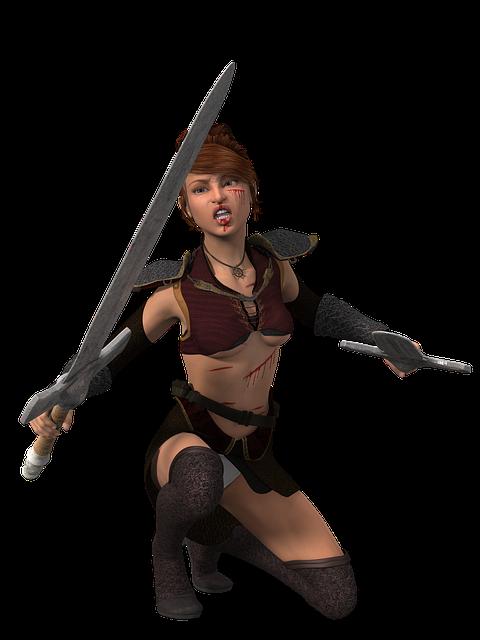 Woman, Warrior, Amazone, Heroine, Sword, Face Jewelry