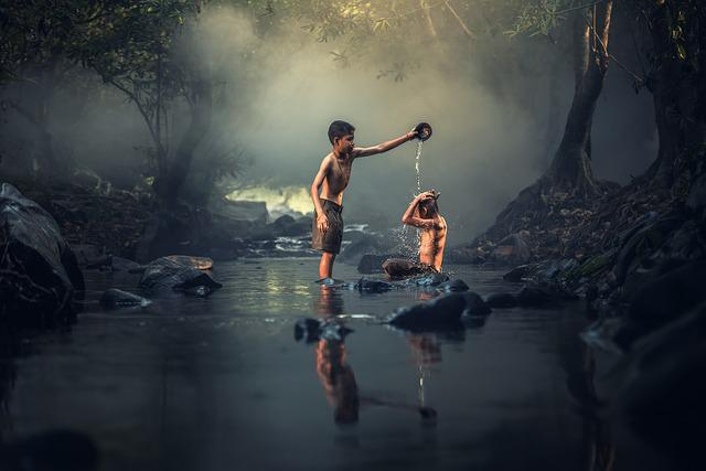 Asia, Boys, Creek, Washing, Cambodia, Kids, Indonesian