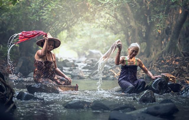 River, Washing, Asia, Cambodia, Clothing, Creek, Woman