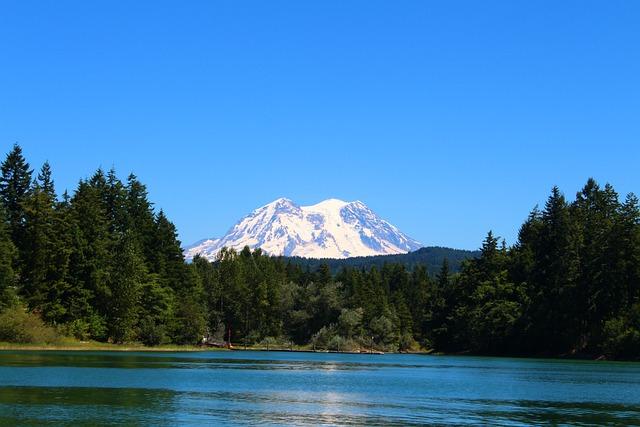 Mountain, Mt Rainier, Lake, Washington, Mount