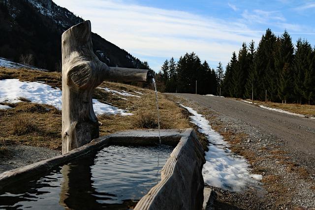 Fountain, Wasse, Clear, Mountain Water, Trough