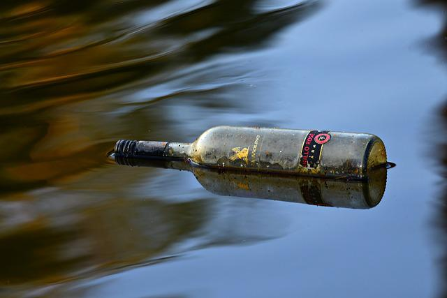 Bottle, Water, Floating, Glass, Label, Waste, Drink