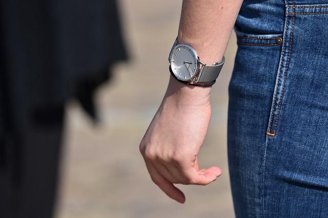 Hand, Finger, Wrist, Arm, Watch, Leg, Denim, Jeans