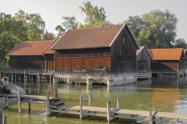 Boat House, Lake, Water, Wooden, Ammersee, Bavaria