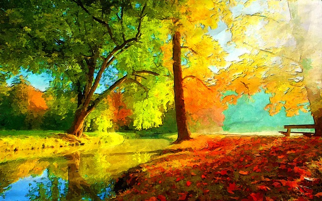 Walk In A Park, Water, Tree, Nature, Bench, Autumn