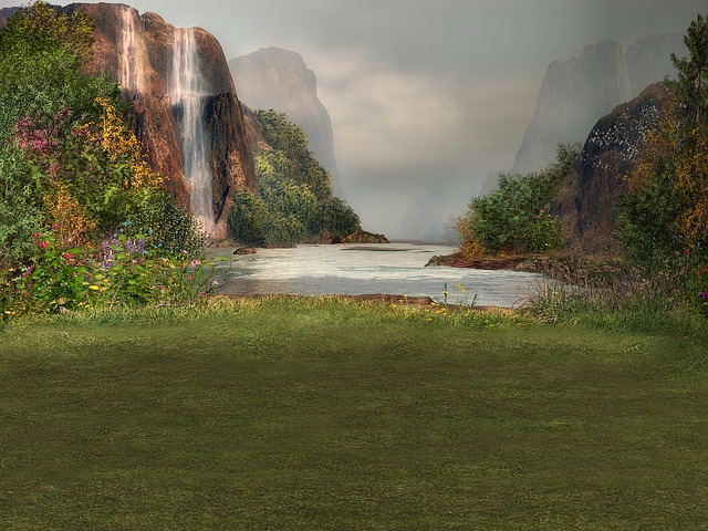 Background, Composing, Water, Waterfall, Meadow