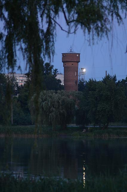 Tower, Water, Water Tower, Barrel, River, Trees, Branch