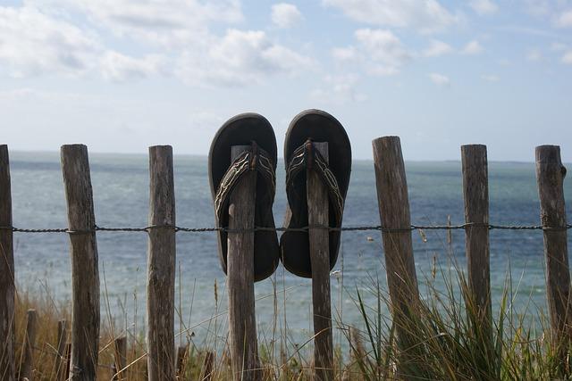 Vacations, Beach, Sun, Sandals, Flip Flops, Sea, Water