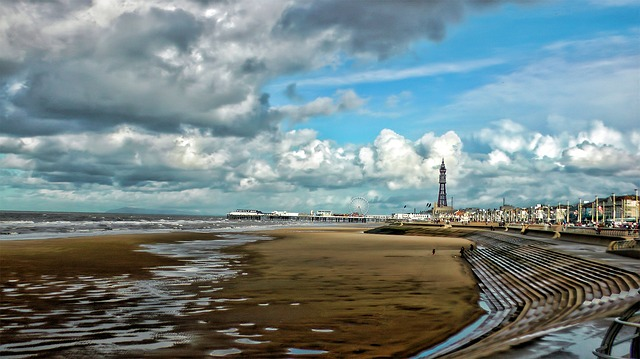 Blackpool, Sea, Pier, Beach, Clouds, Sand, Water