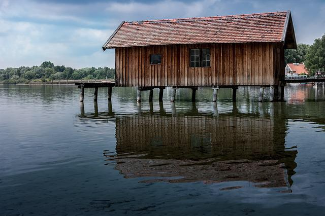 Boat House, Web, Lake, Bavaria, Water, Waters, Jetty