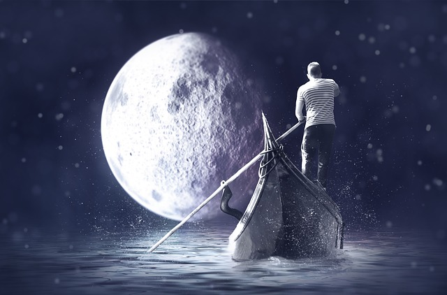 Gondolier, Boat, Moon, Water, Night, Lake, Mood