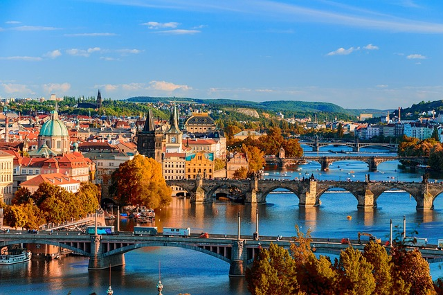 Bridges, Prague, Czechia, Water, City, Town, Cityscape