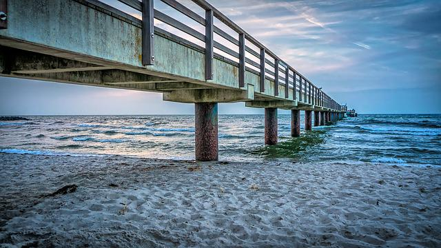 Sea Bridge, Bridge, Water, Baltic Sea, Beach, Coast