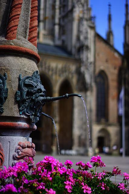 Fountain, Water, Geranium, Flowers, Colorful, Color