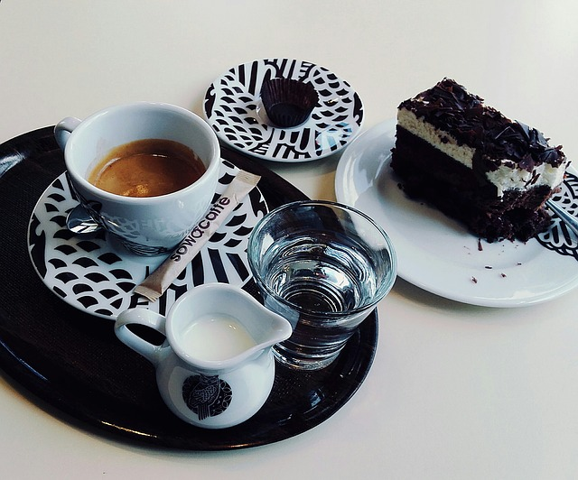 Coffee, Water, Cake, The Cake, Plate, Dessert