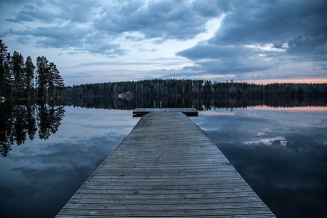Dock, Lake, Finland, Dark, Evening, Water, Nature, Blue