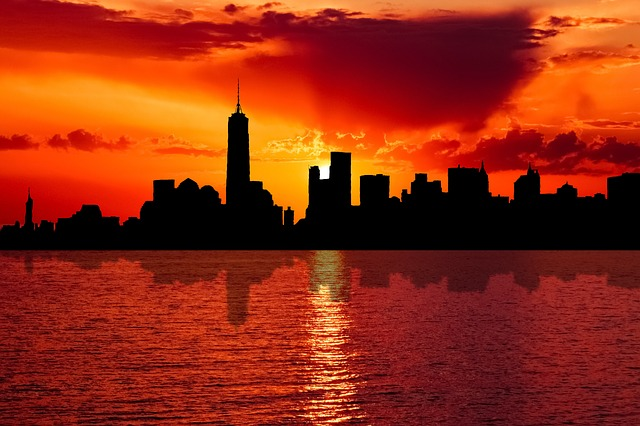 Skyline, New York, City, Sunset, Dusk, Evening, Water