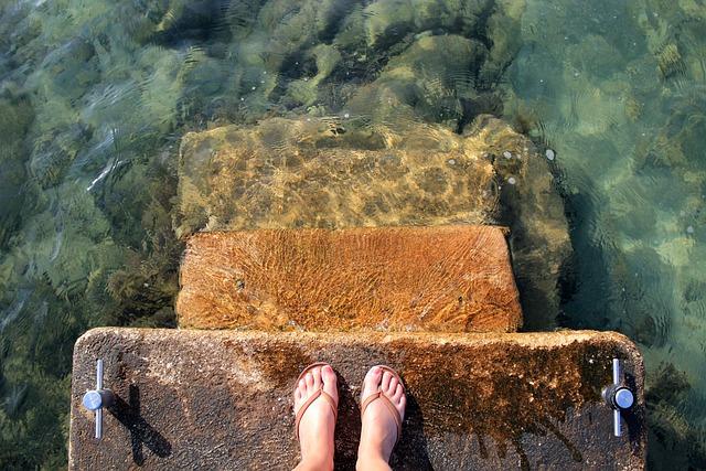 Sea, Water, Feet, Sandals, Flip Flops, Wave, Clear