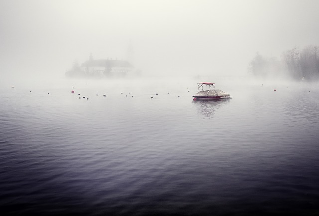 Waters, Fog, Ship, Reflection, Boot, Water