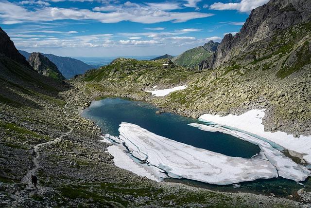 Mountains, Lake, Pond, Ice, Frozen, Snow, Water