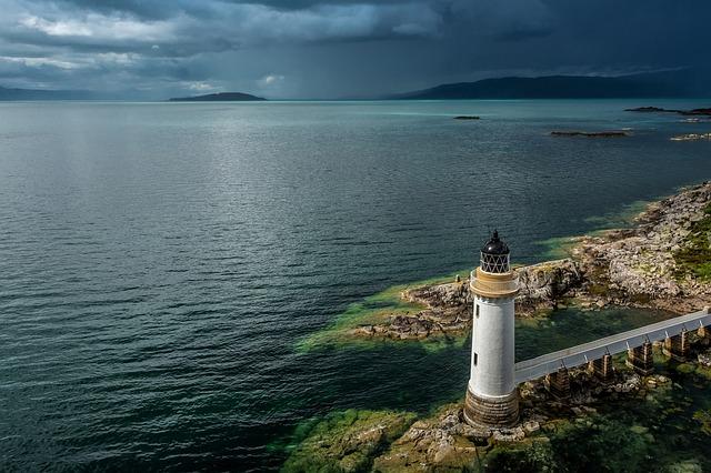 Lighthouse, Scotland, Landscape, Water, United Kingdom