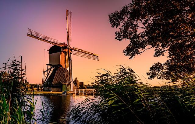 Mill, Netherlands, Holland, Landscape, Water
