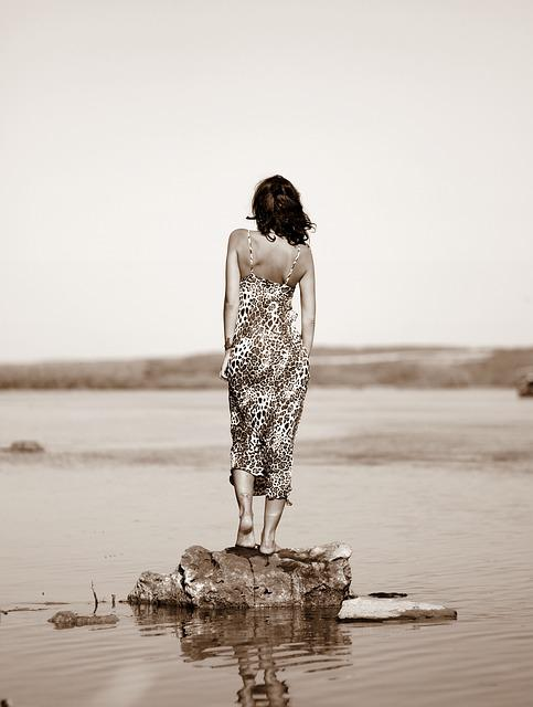 Girl, Back, Water, Rock, Summer, Dress, Leopard
